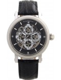 Krug Baümen 60211DM Mens Majestic Black Leather Strap Watch