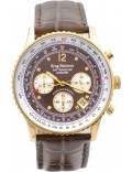 Krug-Baumen 400213DS Air Traveller Diamond Brown Dial Brown Strap