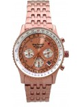 Krug Baümen 400603DS Air Traveller Diamond Rose Gold Dial Rose Gold Strap