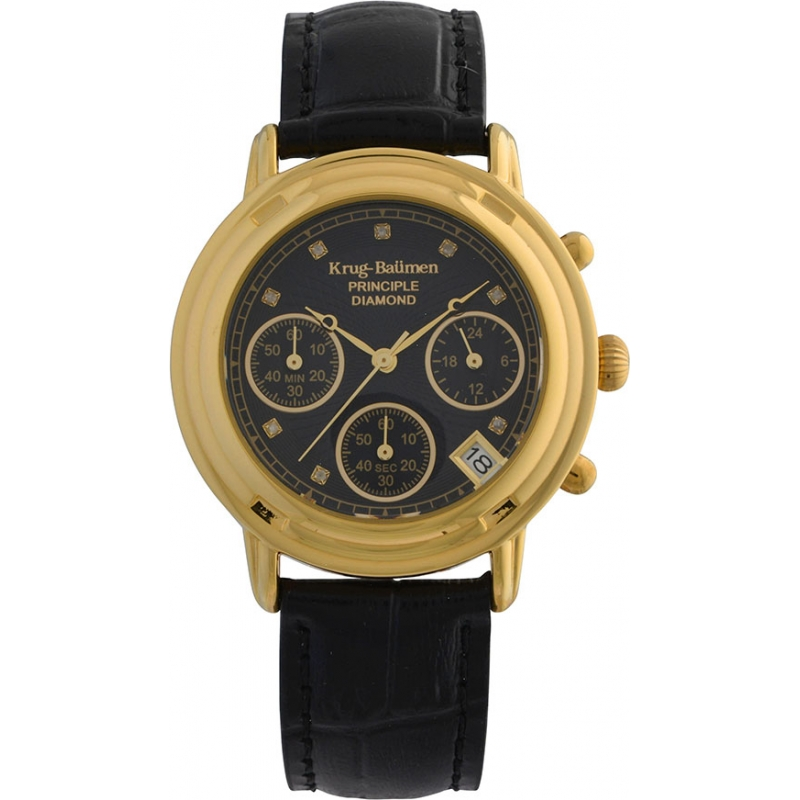 Krug-Baumen 150573DL Ladies Principle Diamond Black Chronograph Watch