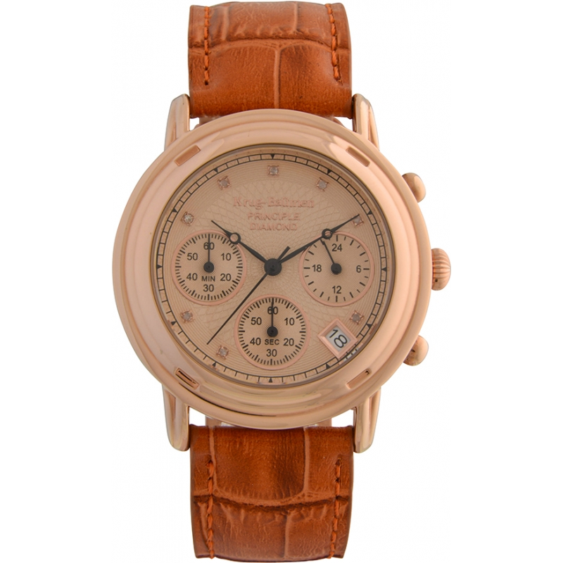 Krug-Baumen 150575DM Principle Diamond Mens Rose Gold Chronograph Watch
