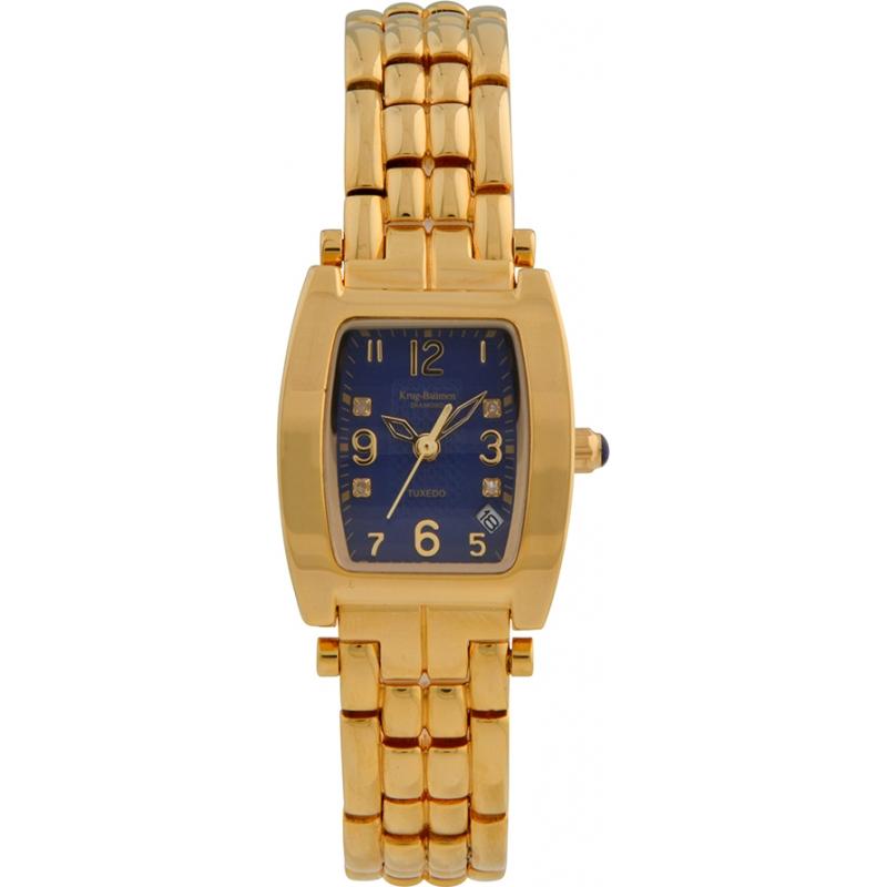 Krug-Baumen 1964DLG Tuxedo Gold 4 Diamond Blue Dial Gold Strap