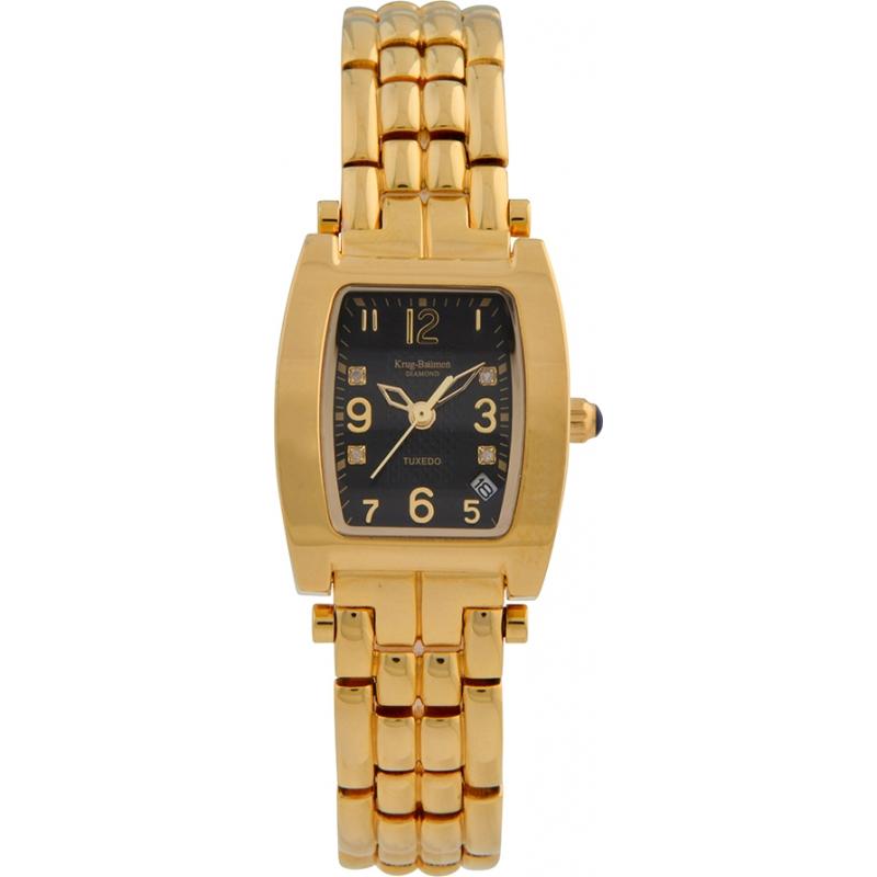 Krug-Baumen 1965DLG Tuxedo Gold 4 Diamond Black Dial Gold Strap