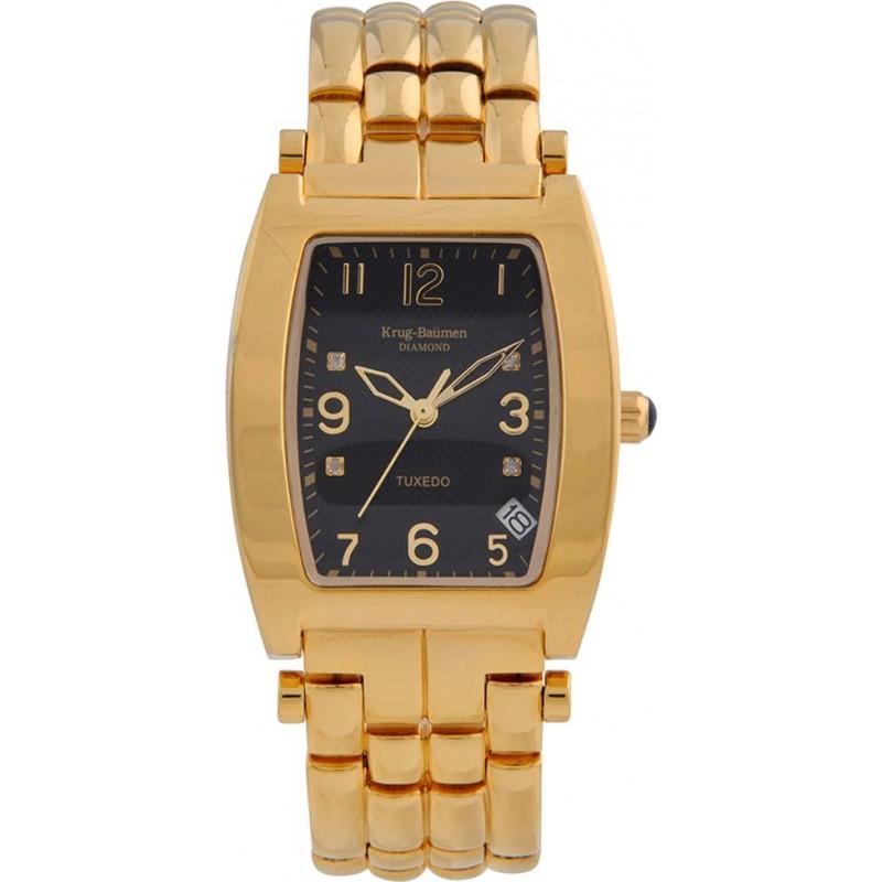 Krug-Baumen 1965DMG Tuxedo Gold 4 Diamond Black Dial Gold Strap