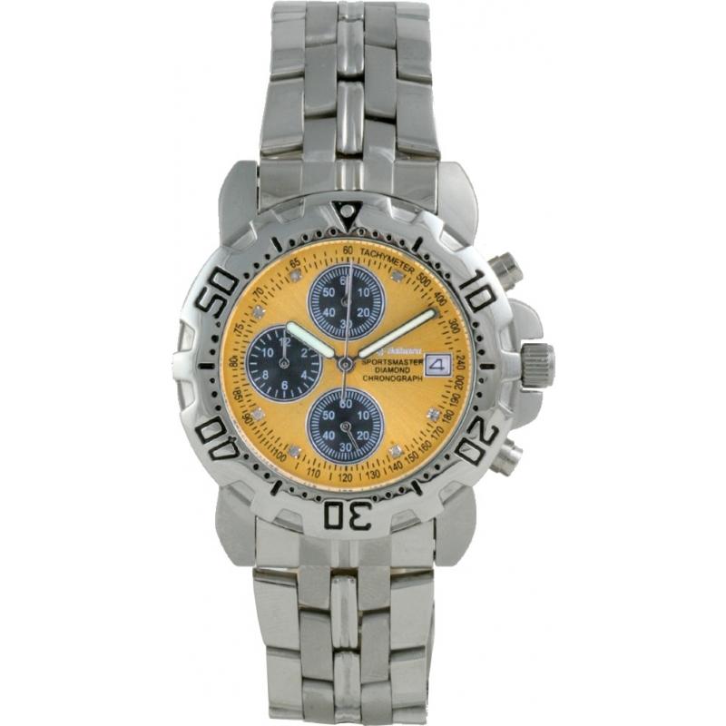 Krug-Baumen 241269DM-CH Mens Sportsmaster Diamond Gold Dial