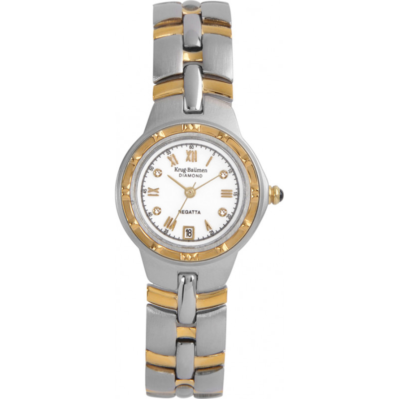 Krug-Baumen 2614DL Regatta 4 Diamond White Dial Two Tone Strap