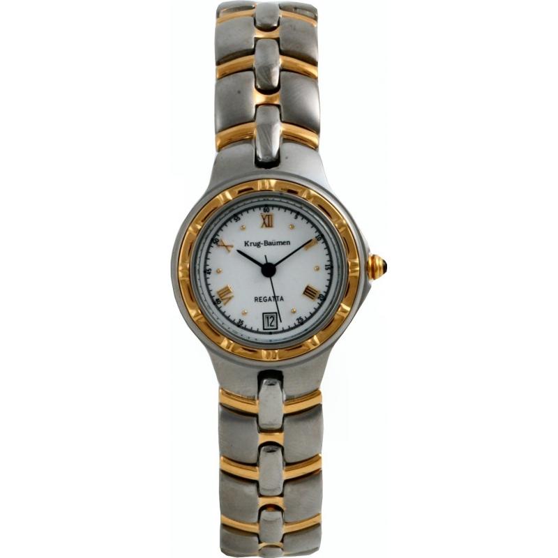 Krug-Baumen 2614KL Ladies Regatta White Steel Gold Watch