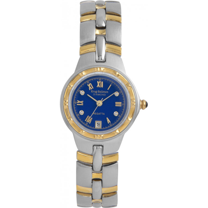 Krug-Baumen 2615DL Regatta 4 Diamond Blue Dial Two Tone Strap