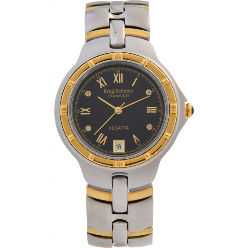 Krug-Baumen 2616DM Regatta 4 Diamond Black Dial Two Tone Strap