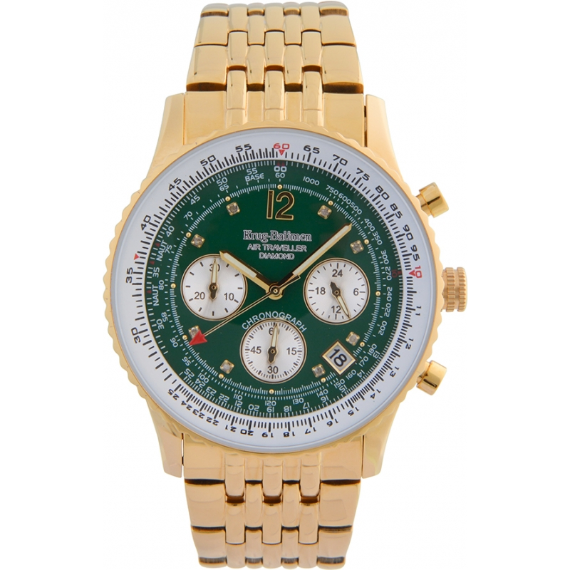 Krug-Baumen 400108DS Air Traveller Green Dial Gold Plated Strap