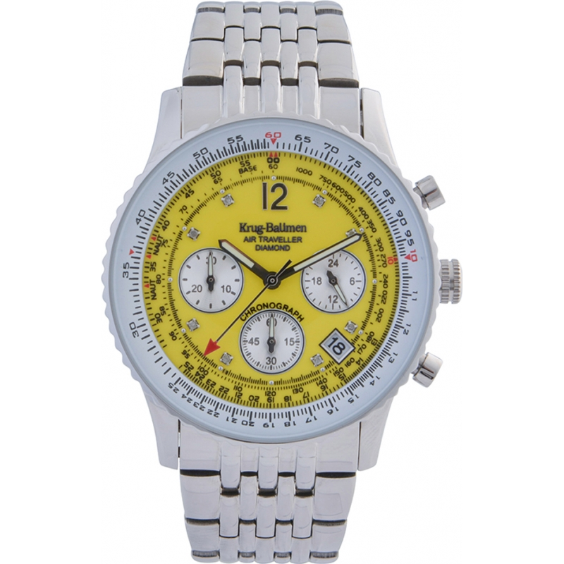 Krug-Baumen 400309DS Air Traveller Yellow Dial Stainless Steel Strap