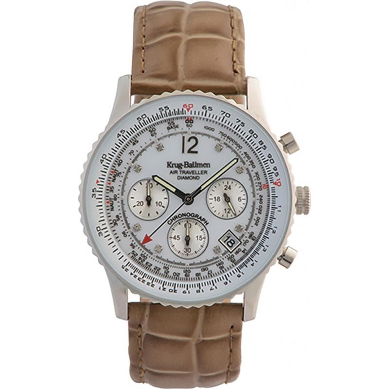 Krug-Baumen 400501DS Air Traveller White Dial Brown Strap