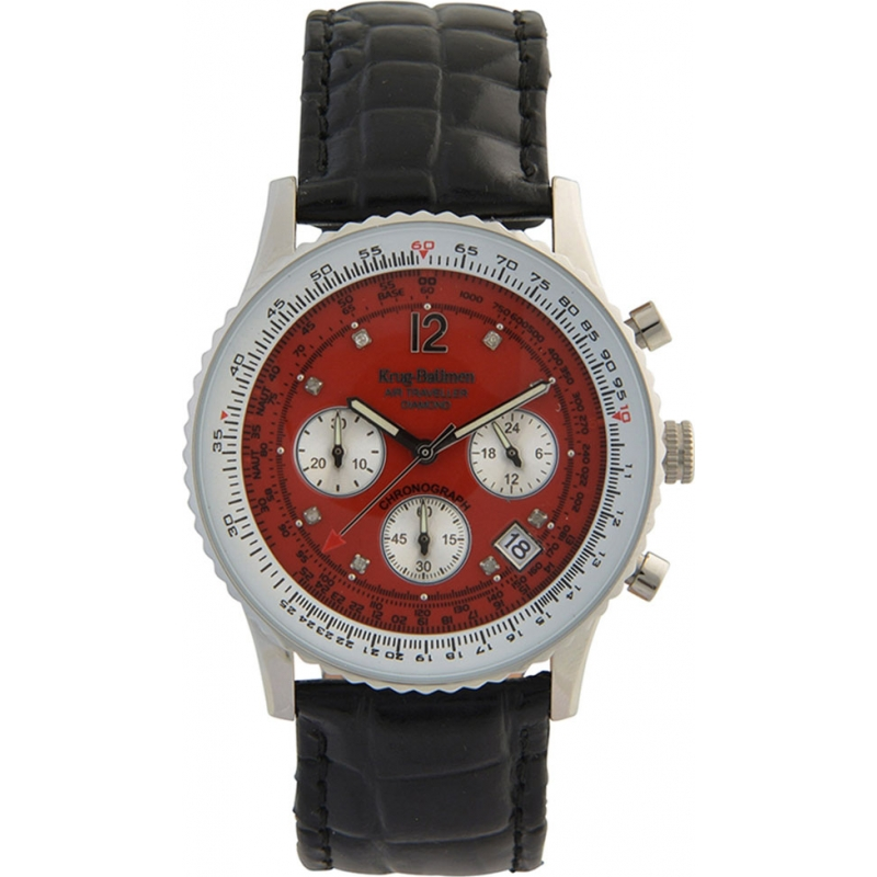 Krug-Baumen 400510DS Air Traveller Red Dial Black Strap