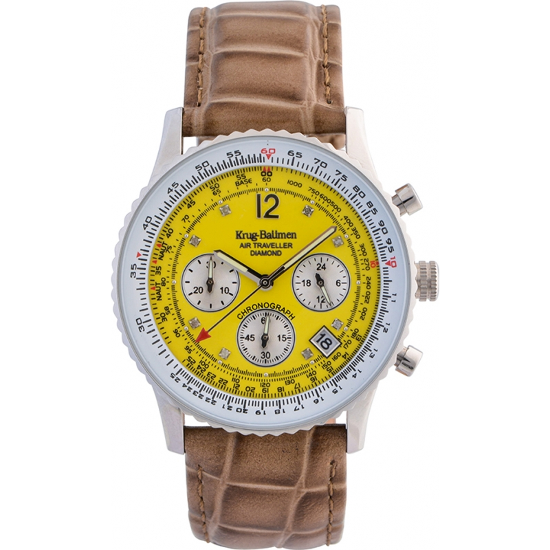 Krug-Baumen 400519DS Air Traveller Yellow Dial Brown Strap