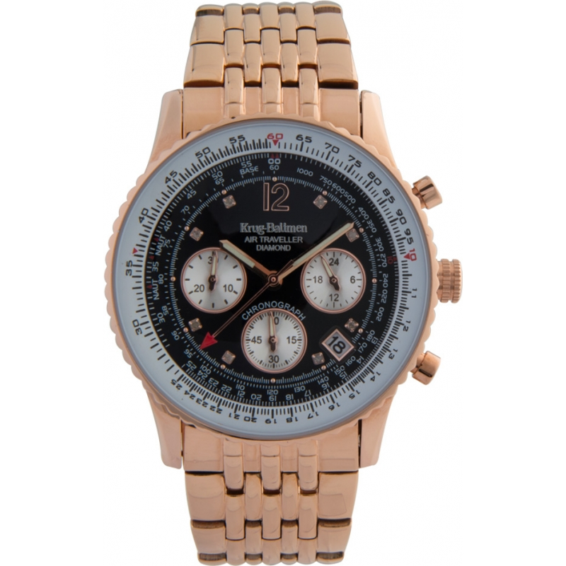 Krug-Baumen 400602DS Air Traveller Diamond Black Dial Rose Gold Strap