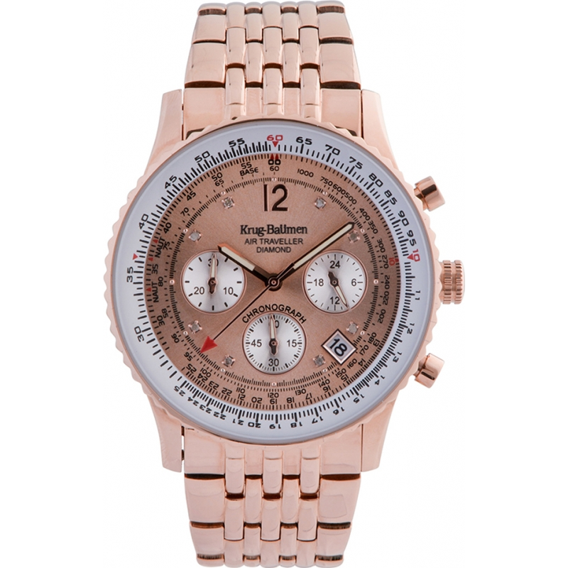 Krug-Baumen 400603DS Air Traveller Diamond Rose Gold Dial Rose Gold Strap