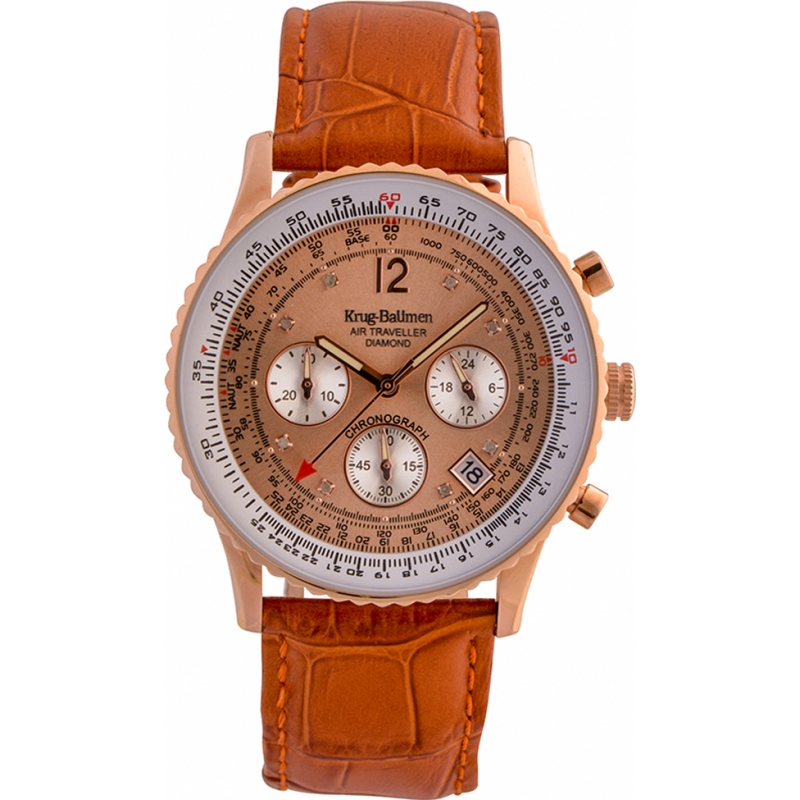Krug-Baumen 400704DS Air Traveller Diamond Orange Leather Strap Watch