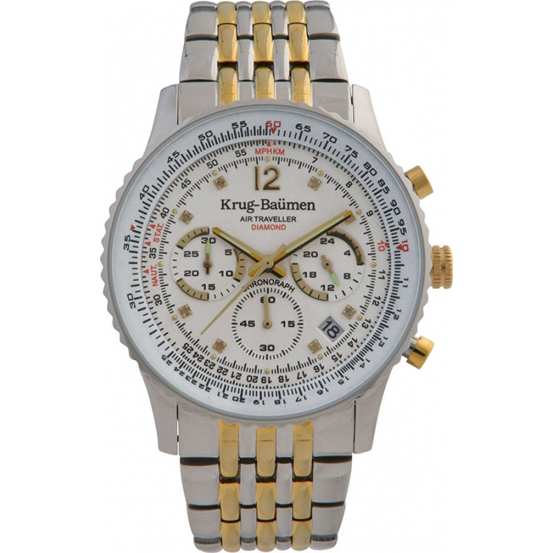 Krug-Baumen 410102DS Mens Air Traveller Diamond Watch
