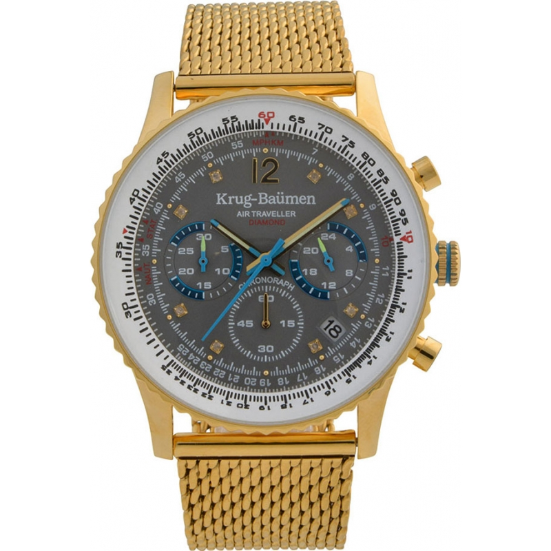 Krug-Baumen 412109DS Mens Air Traveller Diamond Watch