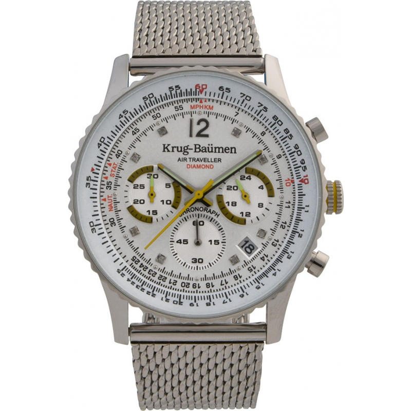 Krug-Baumen 412318DS Mens Air Traveller Diamond Watch