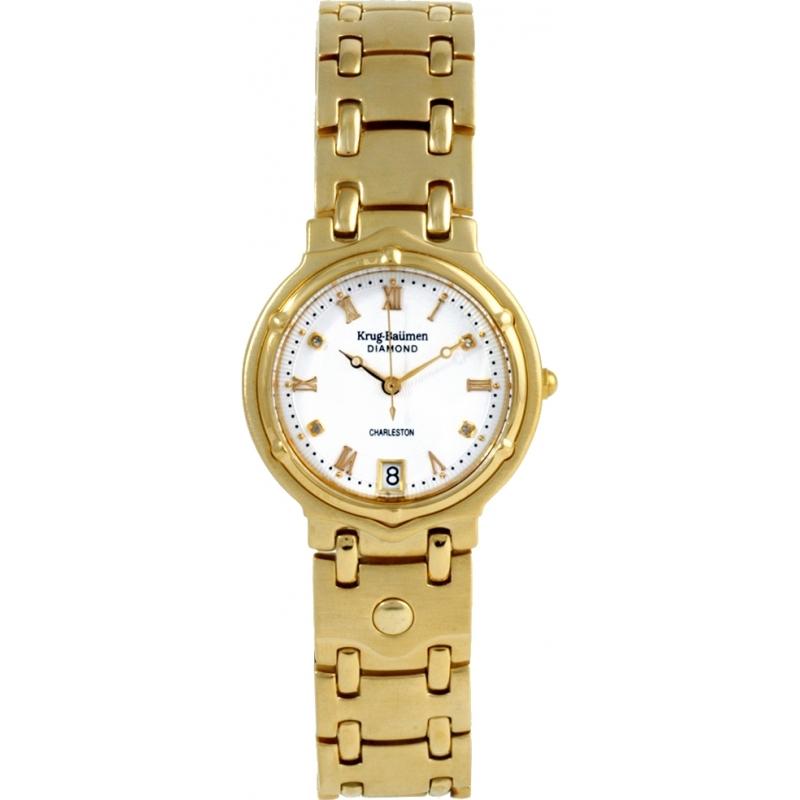 Krug-Baumen 5116DM Charleston 4 Diamond White Dial Gold Strap