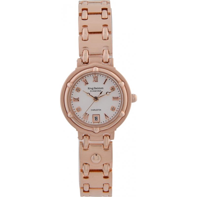 Krug-Baumen 5116RDL Charleston 4 Diamond Rose Gold Dial Gold Strap