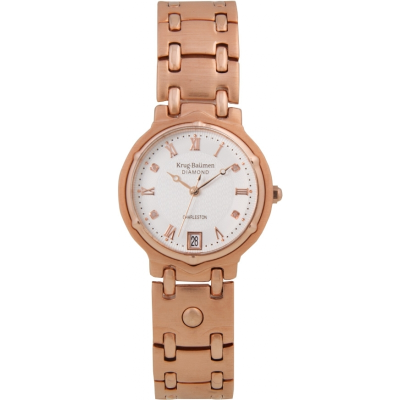 Krug-Baumen 5116RDM Charleston 4 Diamond Rose Gold Dial Gold Strap