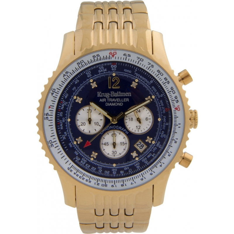 Krug-Baumen 600104DS Mens Air Traveller Diamond Watch
