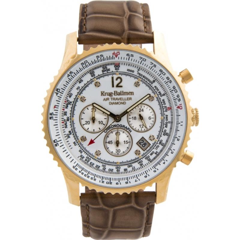 Krug-Baumen 600201DS Mens Air Traveller Diamond Watch