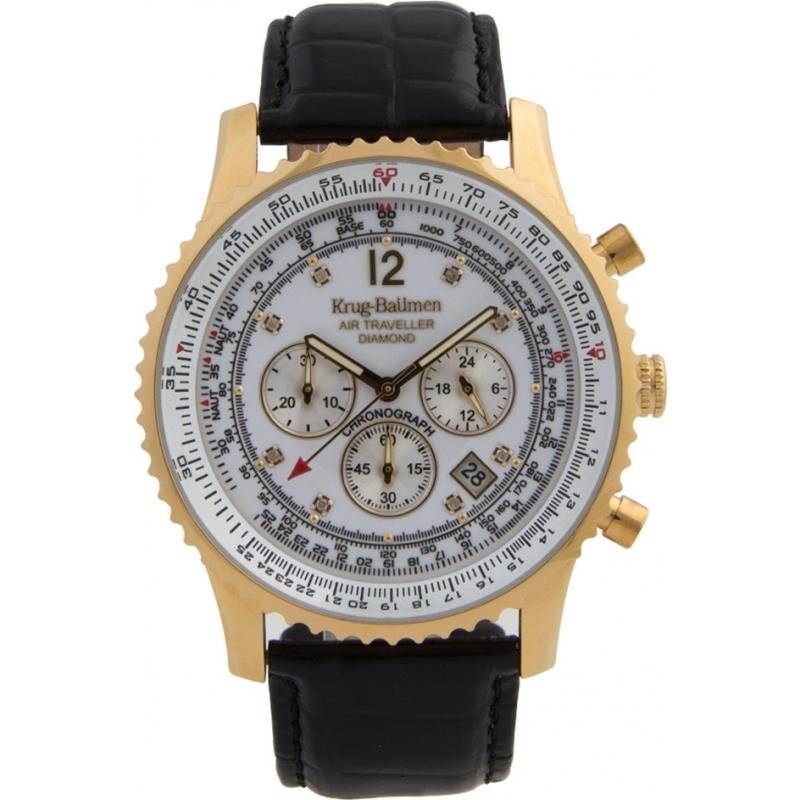 Krug-Baumen 600202DS Mens Air Traveller Diamond Watch