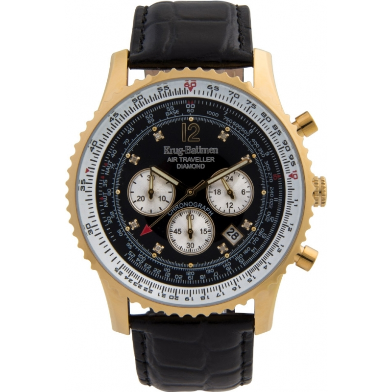 Krug-Baumen 600206DS Mens Air Traveller Diamond Watch