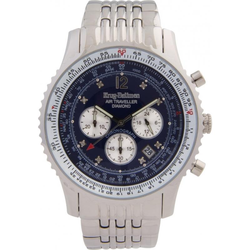 Krug-Baumen 600304DS Mens Air Traveller Diamond Silver Chronograph Watch