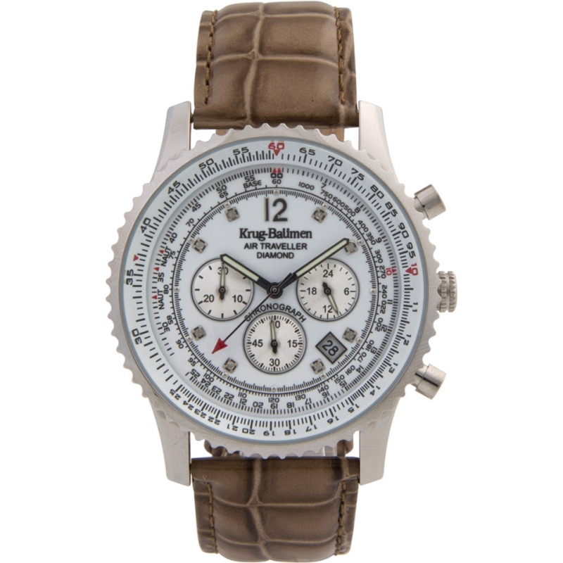 Krug-Baumen 600501DS Mens Air Traveller Diamond Watch